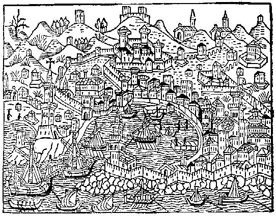 View of Genoa, from the Supplementum Chronicarum ,Venice 1486.